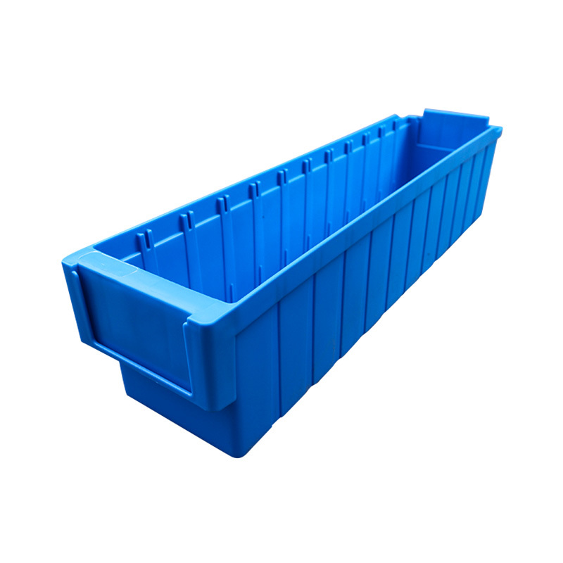 Plastic blue storage bin for parts