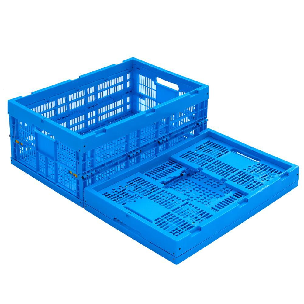 Plastic foldable storage mesh crates with lids