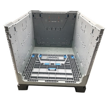 stackable foldable pallet warehouse container with 4 door with lids