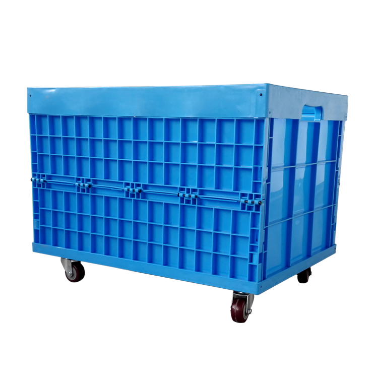 Plastic Durable Foldable Storage Crates Industry Cube Basket with wheels