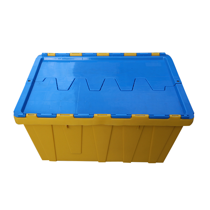 Plastic nestable and stackable attached lid container 560